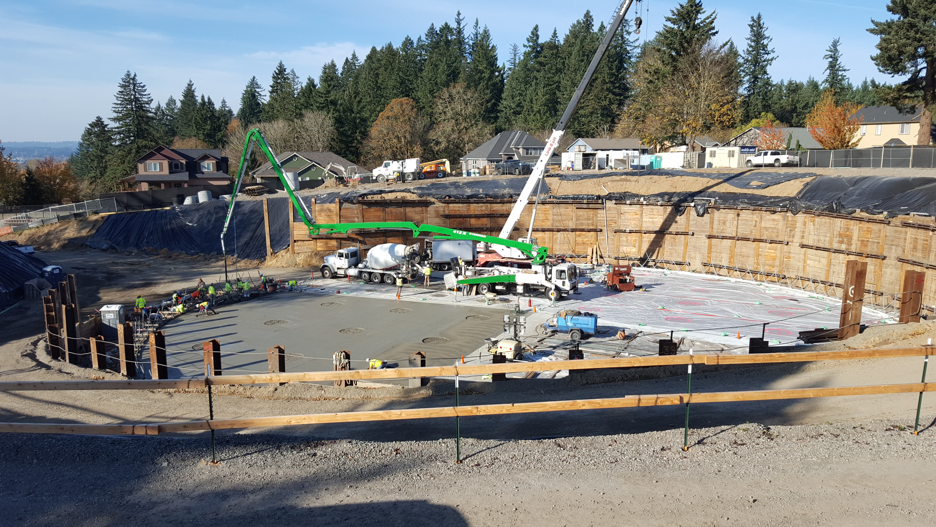 Construction crews pour the foundation for the 152nd Reservoir.